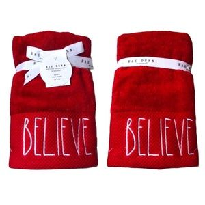 2 RAE DUNN Red Believe Christmas Hand Towels NWT